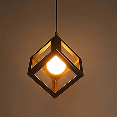 Docooler Vintage Ceiling Pendant Light Base 1 Lampholder E27 AC110-220V Quadrate Iron Hanging Lamp Chandelier Loft Industrial Retro Antique Style