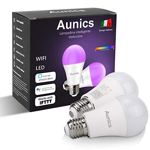 Aunics Intelligente gloeilamp voor Alexa, Google Home, IFTTT, 7W E27, kleuren 16 miljoen afstandsbediening, iOS-app…