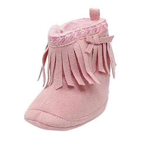 Ouneed® Krabbelschuhe , Kleinkind Säugling Neugeborene Baby Schuhe weiche Sole Aufladungen Prewalker Troddel Rosa