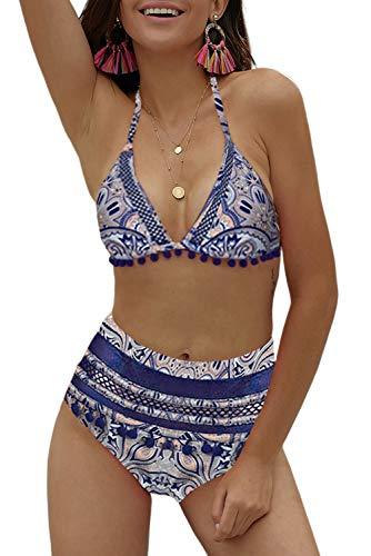 - Angerella Floral Bikini Halter Top Pom Pom Tassel Straps Swimsuit for Women Blue,XL