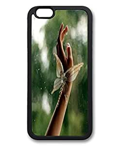 Black TPU Cellphone Back Case Cover for iPhone 6 Shell Skin for iPhone 6 with Butterfly Hand