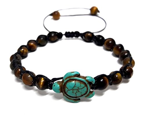 Tiger Eye Stone Beads Sea Turtle Turquoise Bracelet Turtle Hemp Bracelet Hawaiian Sea Turtle Bracelet (Eye Of The Tiger Dance Costume)