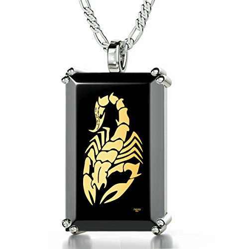 925 Sterling Silver Men's Scorpion Necklace Inscribed with ''You Don't Really Wanna Mess with Me'' in 24k Gold onto a Black Onyx Pendant, 20'' by Nano Jewelry
