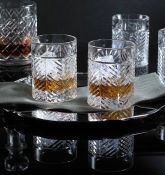 Ralph Lauren Herringbone Classic Double Old Fashioned DOF Barware, Set of 4 ***Arrives by Dec 24th! SameDay/Next Day Ship! (Please ignore Amazon's statement about our holiday arrival shipping schedule, it is incorrect.) You can count on us! Purchase no later than Tues, Dec 21st 10am CST, choose expedited shipping, item will arrive by Dec 24th! We same day/next day! Double Old Fashioned Set Tag