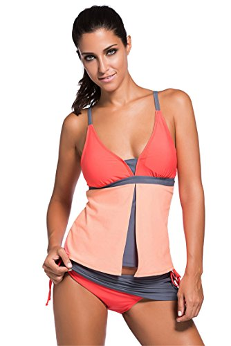 Diukia Women Colorblock Two Piece Swimsuit Tankini Top With Pantyskirt Orange - Women Piece Suit Two