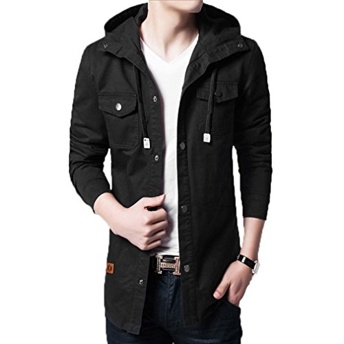 MorryOddy Mens Casual Cotton Trench Coat with Hood Black - Coat Cotton Mens Trench