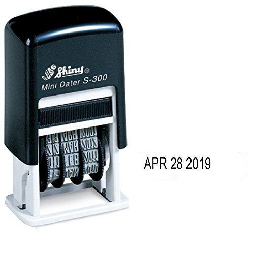 Shiny Self-Inking Rubber Date Stamp - S-300 - BLACK INK
