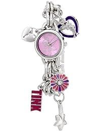 Women's TK2022 Tinkerbell Pink Sunray Dial Charm Bracelet Watch