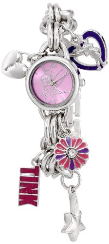 Disney Women's TK2022 Tinkerbell Pink Sunray Dial Charm Bracelet Watch from Disney