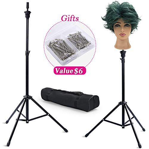 Klvied Adjustable Tripod Wig Stand, Metal Mannequin Head Stand, Heavy Duty Canvas Wig Head Stand Holder for Wig Making with T-Pins, Portable Carrying Bag, Black