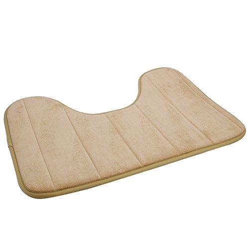 Kangkang@ 40 x 60cm U Shape Wide Style High Density Non-slip Bathroom Toilet Pedestal Lint Rug Carpet Floor Mat tapete para banheiro (camel)