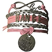 Infinity Collection Dance Bracelet- Girls Dance Jewelry - Pink Ballet Shoe Dance Bracelet for Dance Recitals