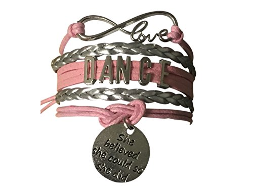 Infinity Collection Dance Bracelet- Dance She Believed She Could So She Did Jewelry - Pink Ballet Shoe Dance Bracelet for Dance -