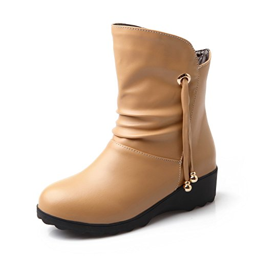 AllhqFashion Womens Soft Material Round Closed Toe Solid Low-Top Low-Heels Boots Apricot t9WNf6x