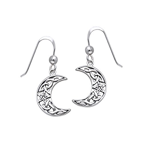 Jewelry Trends Sterling Silver Celtic Knot Crescent Moon and Star Pentacle Dangle Earrings