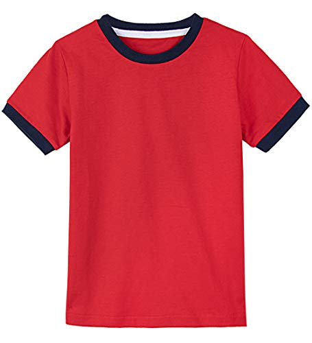 (A&J DESIGN Youth Ringer Heavyweight Cotton Tee Shirt (Red/Navy Blue, Youth Medium))