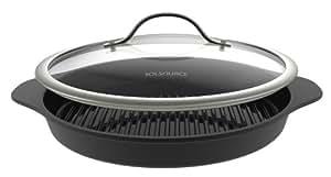 "SolSource Classic Grill Pan with Lid - Ceramic 12.5"" Cast Aluminum"