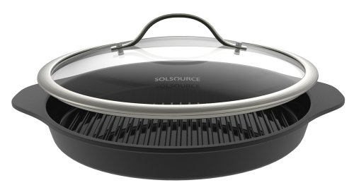 SolSource Classic Non-Stick Grill Pan with Lid, Ceramic Griddle 12.5