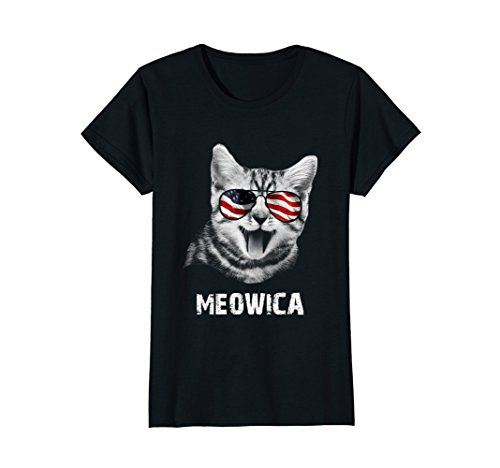 Womens Meowica USA American Flag Cat T-Shirt Funny 4th Of July Gift Medium - American Cat Flag With