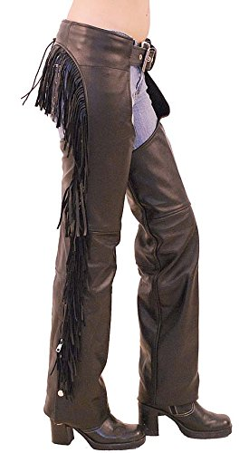 Jamin' Leather Women's Leather Chaps w/Rear Fringe (M) #C766F