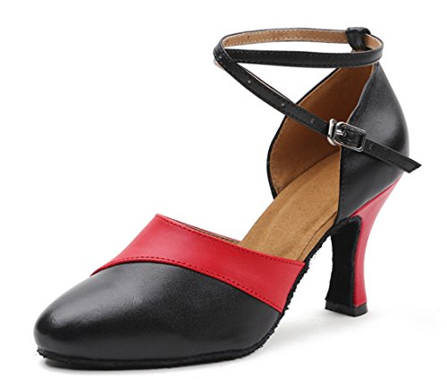Leather Women's Red Shoes High Ballroom Honeystore Dance Latin Cow Heel Dress pRqEnvFw5x