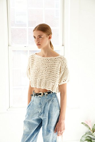 Loopy Mango DIY Knit Kit - Small/Medium Puff Sleeve Crop Top - Big Cotton (Emerald) by Loopy Mango (Image #2)