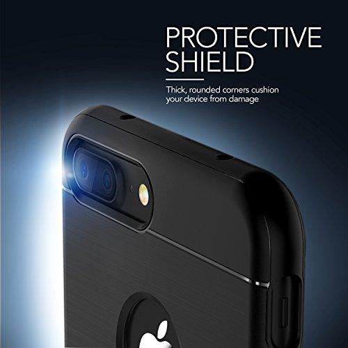 iPhone 7 Plus Hülle, VRS Design® Schlanke Schutzhülle [Schwarz] Schlagfesten Stoßstangen TPU Case Kratzfeste Schlanke Rutschfeste Handyhülle [Simpli Fit] für Apple iPhone 7 Plus (2016)