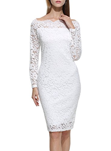 STKAT Women's Long Sleeve Off The Shoulder Floral Lace Twin Set Cocktail Party Evening ()