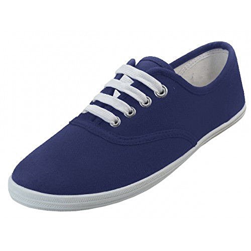 WOMENS NAVY FLAT CANVAS SHOE LACED SNEAKERS S324L (7)