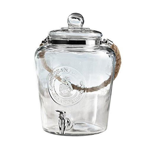 Caribbean Joe Glass Beverage Dispenser with Rope Handle, Clear