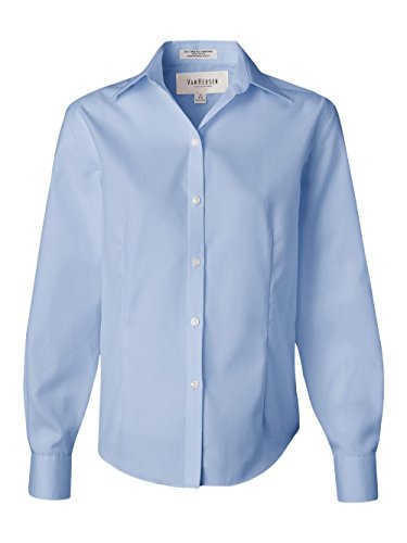 Button Down No Iron Pinpoint - Van Heusen 13V0144 Ladies' Long-Sleeve Non-Iron Pinpoint Blue Mist M