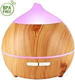 Diffusers for Essential Oils Wood Grain 250ml Essential Oil Diffuser Ultrasonic Aromatherapy Oil Diffuser Cool Mist Aroma Humidifier for Office Baby Home Bedroom, Auto Shut-Off and 7 Color Night Light