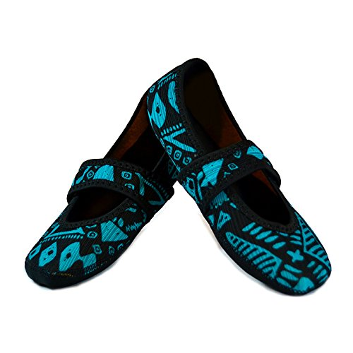 Nufoot Betsy Lou Fuzzies Women's Shoes, Best Foldable & Flexible Flats, Slipper Socks, Travel Slippers & Exercise Shoes, Dance Shoes, Yoga Socks, House Shoes, Indoor Slippers, Blue Aztec, Medium TFM094300080MD