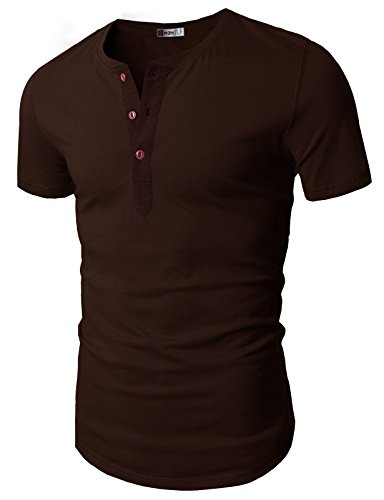 H2H Men's Casual Slim Fit American Flag Henley Shirts T-Shirts Brown US XXL/Asia 3XL (D15S_KMT05S) ()