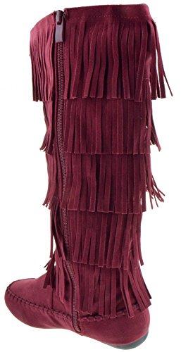 Forever Candice 88 Womens Comfort Layer Fringe Moccasin Knee High Boots Burgundy Xp6U4Mt