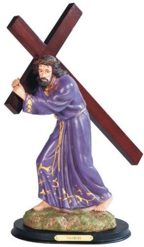 "15"" Purple Jesus Christ Carrying Cross Religious Statue Jesucristo Cristo"