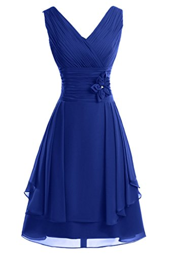 Prom Fiori breve A damigella da line sposa d' di Con ressing A Donna ivyd royal blu abito abito Scollo V sera onore FqanY
