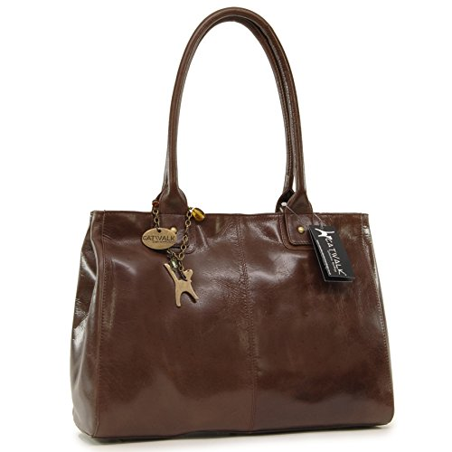 CATWALK COLLECTION - KENSINGTON - Bolso de hombro estilo shopper - Cuero vintage - Grande Marrón