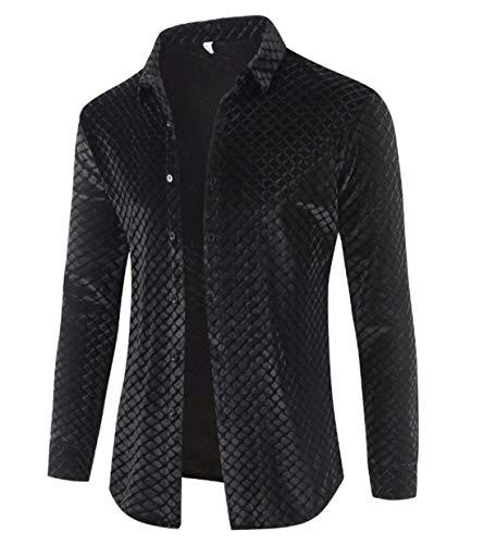 - X-Future Mens Autumn Velvet Slim Fit Fashion Long Sleeve Button Front Shirt Black US XL