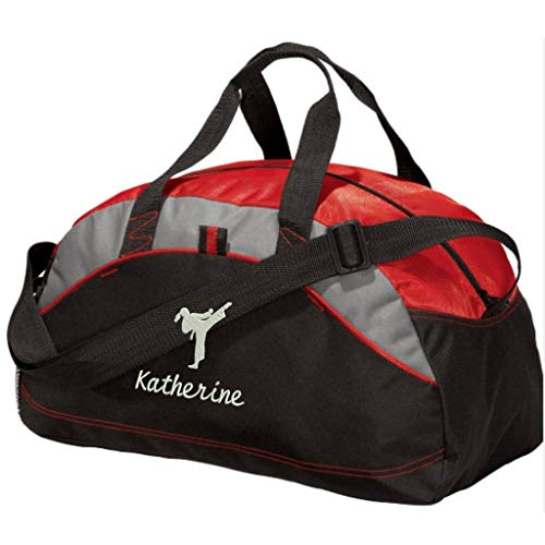 Personalized Karate Taekwondo Duffel Gym Bag For Girls - Embroidered (Red) ()