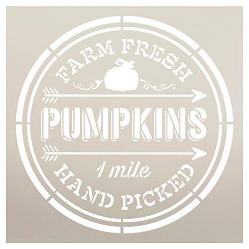 Farm Fresh Pumpkins Hand Picked One Mile Stencil by StudioR12 | Wood Signs | Word Art Reusable | Fall | Painting Chalk Mixed Media Multi-Media | Use for Journaling, DIY Home - Choose Size (9