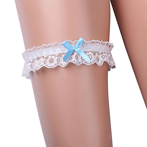 (IEFIEL Sweet Lace Ruffle Crystal Heart Satin Bridal Wedding Garter with Bowknot White Bow One Size)