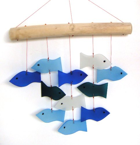 Blue Handworks Glass Wind Chime, Swimming Fish (Chime Driftwood Glass)