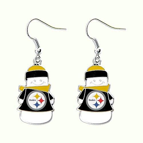 Pittsburgh Steelers NFL Snowman Holiday Dangle Logo Earring Set Charm Gift by aminco (1/2 Earrings Logo Dangle)