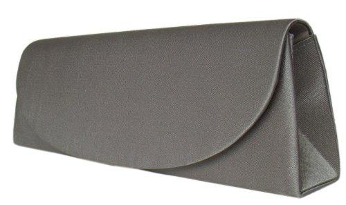Schicke Satin Abendtasche,Handtasche,28x10 cm,Grau