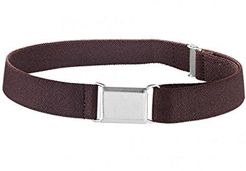 Kids Elastic Adjustable Strech Belt With Silver Square Buckle - Brown