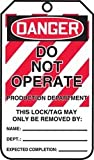 Accuform MLT408LTP HS-Laminate Lockout Tag, Legend''DANGER DO NOT OPERATE PRODUCTION DEPARTMENT'', 5.75'' Length x 3.25'' Width x 0.024'' Thickness, Red/Black on White (Pack of 25)