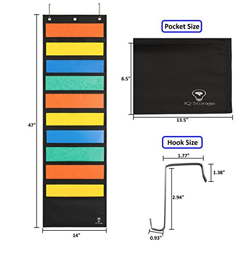 Hanging File Organizer By IQ Storage: 10 Pocket Wall Mounted Folder Holder, With 2 Door Hooks, For Organizing Papers, Documents Supplies In Classroom, Office And Nursery - Heavy Duty 600D Polyester Photo #2