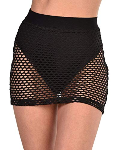 iHeartRaves Highwaisted Fishnet Pencil Mini Skirt Coverup (Black, Medium)