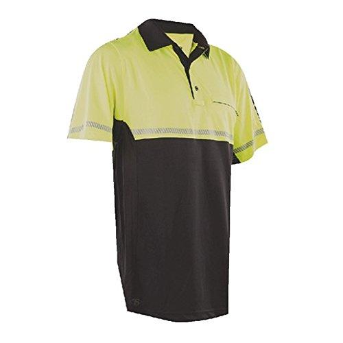 Bike Polo - Tru-Spec Polo Shirt, 24-7 Hvy Bike Performance with Refl Tape S/Hi-VIS Yellow, Large